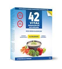 42 Vital ZESTAW - niskokaloryczna dieta roślinna, proszek, 2 x 510g + shaker, 700 ml GRATIS!