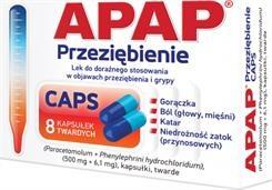 Apap Przeziębienie CAPS, (500 mg + 6,1 mg), kapsułki twarde, 8 szt