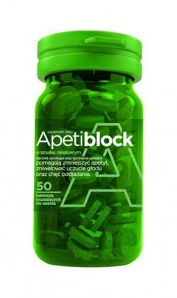 Apetiblock smak miętowy x 50 tabletek musujących do ssania, tabletki, 50 sztuk
