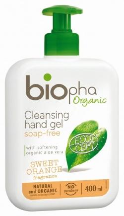 BIOpha Żel do mycia rąk o zapachu pomarańczy, butelka z pomką 400ml