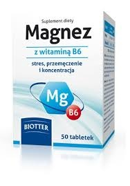 Biotter Magnez z Witamina B6, 125 mg jonów, 50 tabl