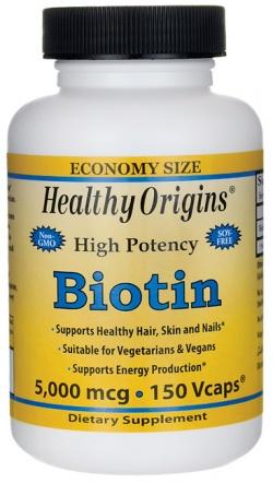 Biotyna 5000 mcg,  Healthy Origins, 150 kaps