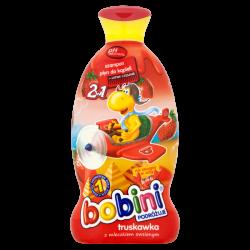Bobini, 2w1 szampon i płyn do kąpieli, truskawka z mleczkiem owsianym, 400 ml