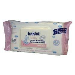 Bobini Baby, chusteczki, nawilżane, aloes, rumianek, sensitive, 70szt