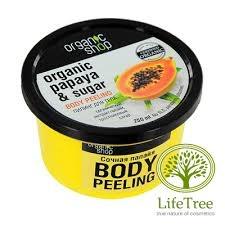 Organic shop, Cukrowy peeling do ciała z Papają, 250ml