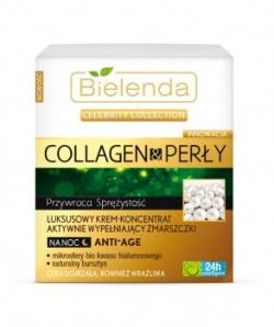 Celebrity Collection Collagen & Perły Luksusowy krem-koncentrat aktywnie wypełniający zmarszczki na noc ANTI-AGE, krem