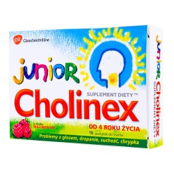 Cholinex Junior, pastylki do ssania, smak malinowy, 16 szt