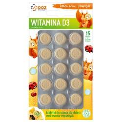 Witamina D3, tabletki do ssania dla dzieci, 15 szt