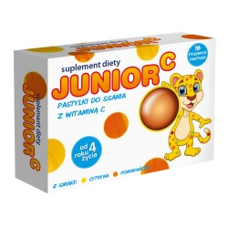 Junior C, pastylki do ssania z witaminą C, 16 szt