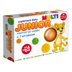 Junior Multi, pastylki do ssania z 7 witaminami, 16szt
