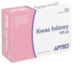 Kwas foliowy 400 µg APTEO, 30 tabletek