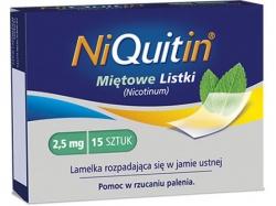 Niquitin Miętowe Listki, lamelki rozpuszczające się w jamie ustnej, 2,5mg, 15szt