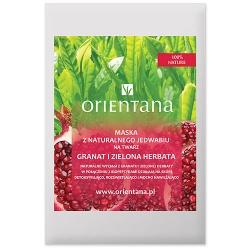 Orientana, Maska z naturalnego jedwabiu na twarz Granat i Zielona herbata, 1szt