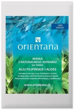 Orientana, Maska z naturalnego jedwabiu na twarz Algi filipińskie i Aloes, 1 szt