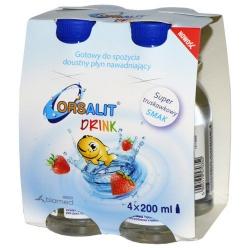 Orsalit drink, płyn, smak truskawkowy, 4 x 200 ml