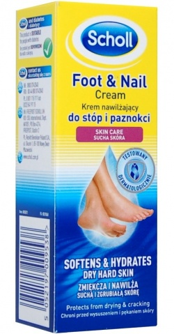 Scholl, Krem nawilżający do stóp i paznokci, 60 ml