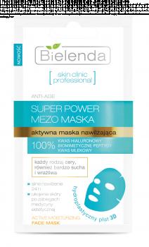 SKIN CLINIC PROFESSIONAL, Aktywna maska nawilżająca w hydroplastycznym płacie 3D na twarz ANTI-AGE, 10g