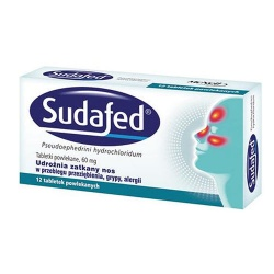 Sudafed, tabletki powlekane, 60mg, 12szt