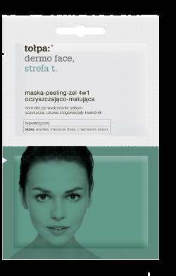 Tołpa Dermo Face, Strefa T, maska-peeling-żel 4 w 1 oczyszczająco-matująca, 2 x 6 ml