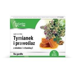Tymianek i Prawoślaz, z miodem i witaminą C, BigGarden, 12 tabletek