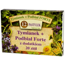 Tymianek+Podbiał Forte z dodatkiem 20 ziół, pastylki do ssania, 12 szt