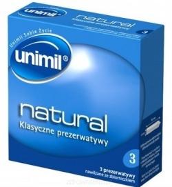 Unimil Natural, prezerwatywy nawilżane olejkiem silikonowym, ze zbiorniczkiem, 3 szt