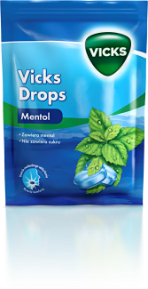 VICKS DROPS, cukierki do ssania, mentol, 72 g
