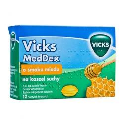 VICKS MEDDEX, pastylki o smaku miodu na kaszel suchy, 12 sztuk