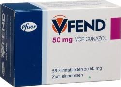 Vfend - Voriconazol, 20 tabletek, 0,2g
