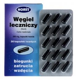 Węgiel leczniczy Norit, Pliva,  200 mg, 15 kapsułek