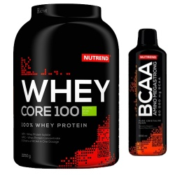 NUTREND - WHEY CORE 100 + BCAA Amino Mega Strong - 2,3kg + 500ml